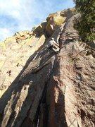 First pitch lead of Chockstone, Eldorado Canyon.