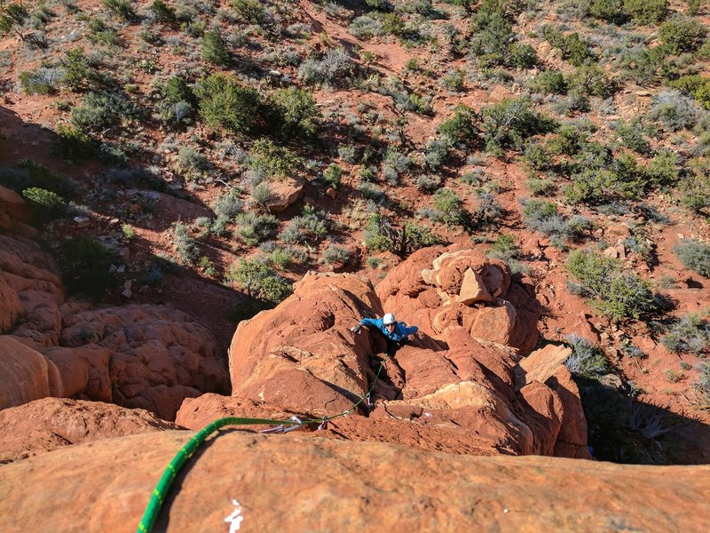 Rock Climbing Photo: Chris Astraus heading up the 2nd pitch of T-Rex