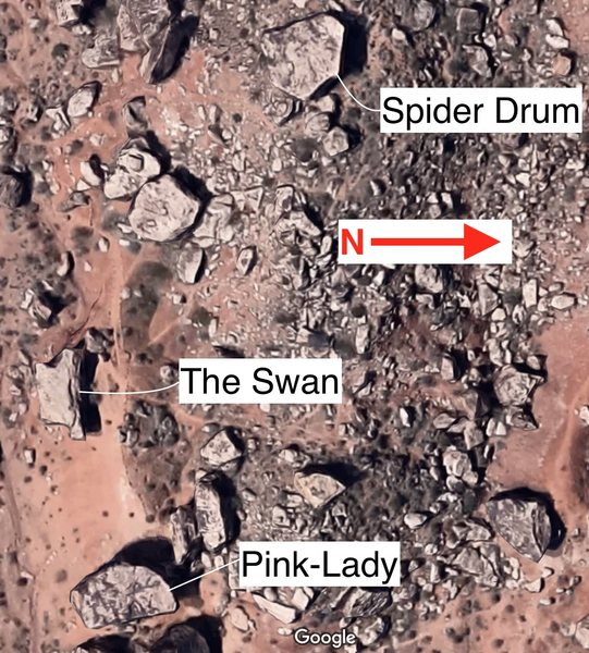 overhead view of Spider Drum, Pink Lady, and The Swan