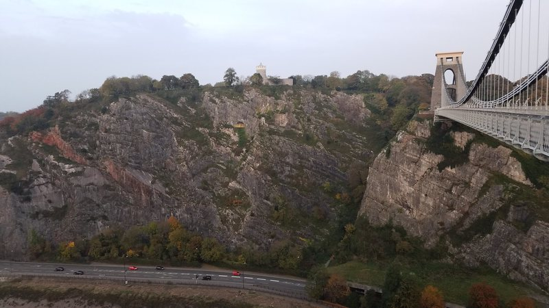 View of Suspension Bridge and Giant's Cave buttresses from the Clifton suspension bridge