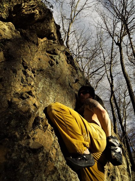 Rock Climbing Photo: Josh chalking up before working the second half of...
