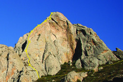 Rock Climbing Photo: West Face of Peña Bernal, showing Filo Norocciden...