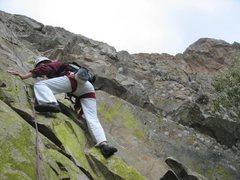 Rock Climbing Photo: Aline Ortega starting the 1st pitch of Filo Norocc...
