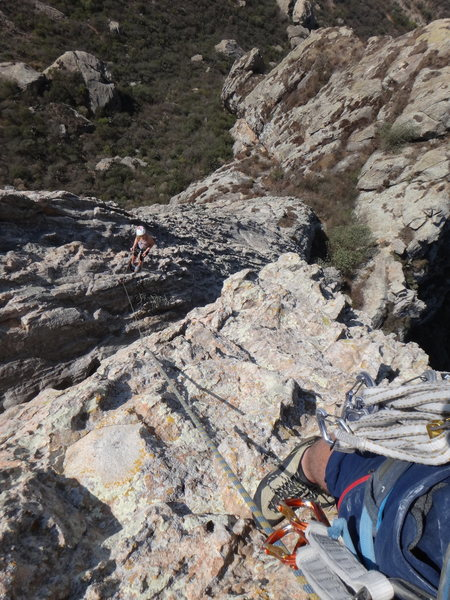 Looking down the 4th pitch of Filo Noroccidental, right after gaining the main ridgeline.<br> <br> Photo by Mauricio Herrera Cuadra.