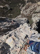 Rock Climbing Photo: Looking down the 4th pitch of Filo Noroccidental, ...