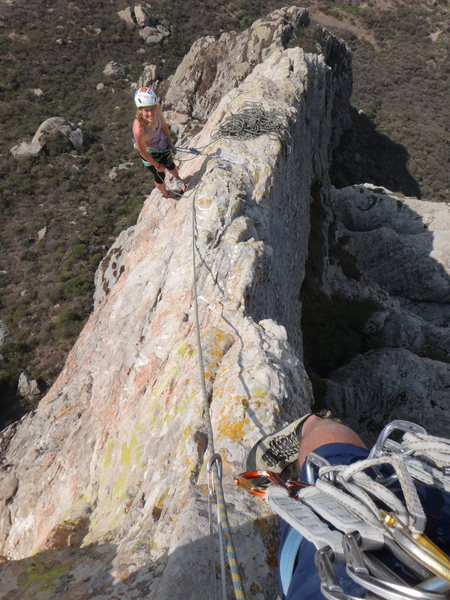Rock Climbing Photo: Looking down the 6th pitch of Filo Noroccidental. ...