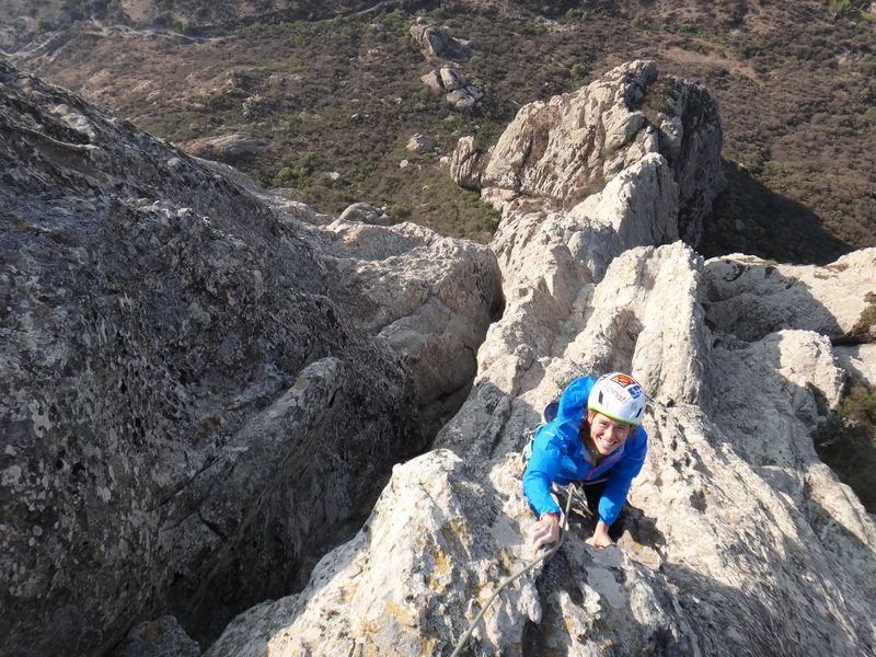 Rock Climbing Photo: Hillary Allen reaching the summit of Peña Bernal ...