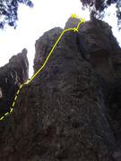Rock Climbing Photo: The north face of El Fistol del Diablo as seen fro...