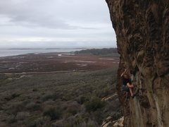 Rock Climbing Photo: John Hickey negotiating the crux of Olas Negras. P...