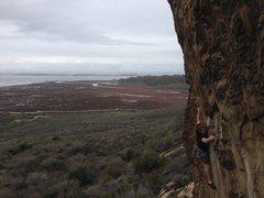 Rock Climbing Photo: John Hickey stretching through the crux on Olas Ne...
