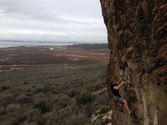 Rock Climbing Photo: John Hickey feeling the crux on Olas Negras. Photo...