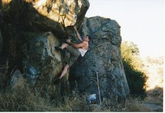 Rock Climbing Photo: Make your way up the middle of the slightly overha...