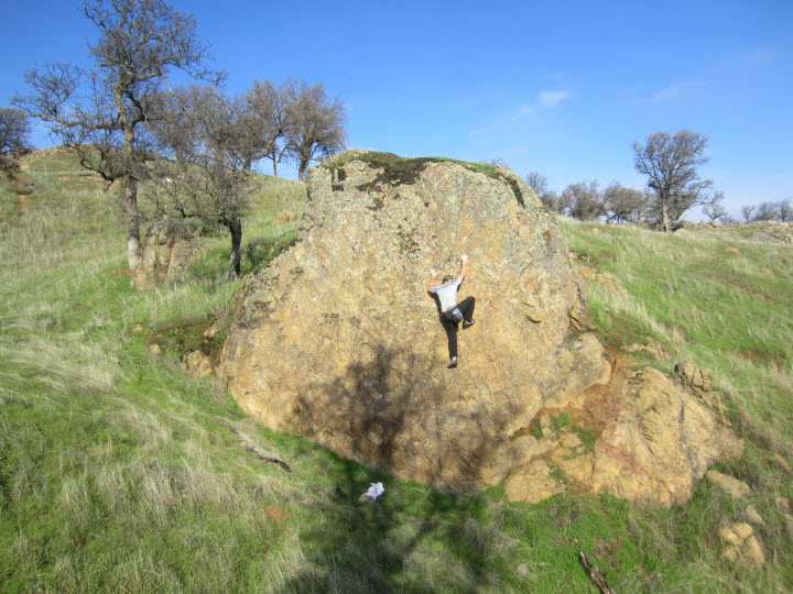 Rock Climbing Photo: Make your way straight up the center of the boulde...