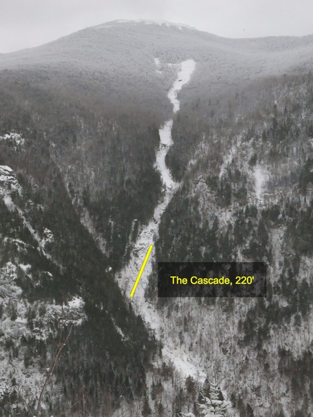 "Cascade Mountain Slide (Jan 2017) viewed from Pitchoff showing ""The Cascade"" at the bottom of the slide"