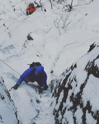 "Rock Climbing Photo: Climbing up the ""WI3"" finish to Shoestri..."