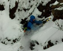 """Rock Climbing Photo: Cleaning the snow from the very thin """"WI3&quo..."""