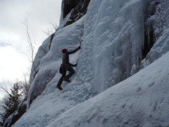 Rock Climbing Photo: Aaron leading up P1 of Standard