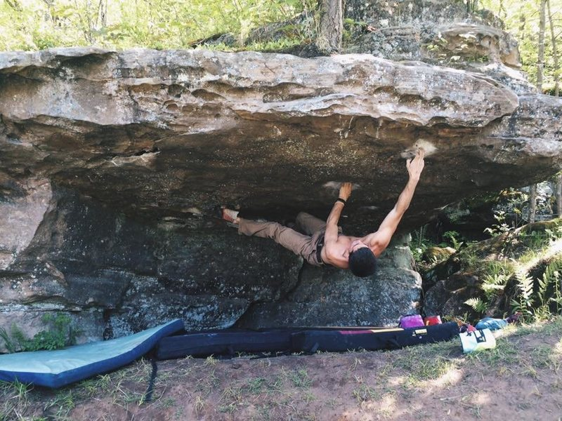 Rock Climbing Photo: Pocket Hercules on a hot summer day