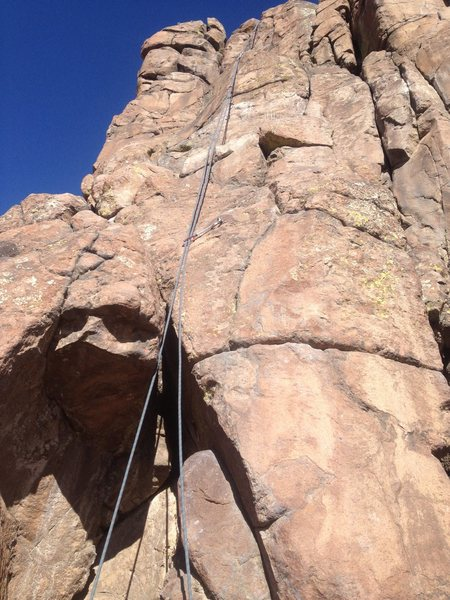 A good view of the climb with a rope clipped to all the bolts.