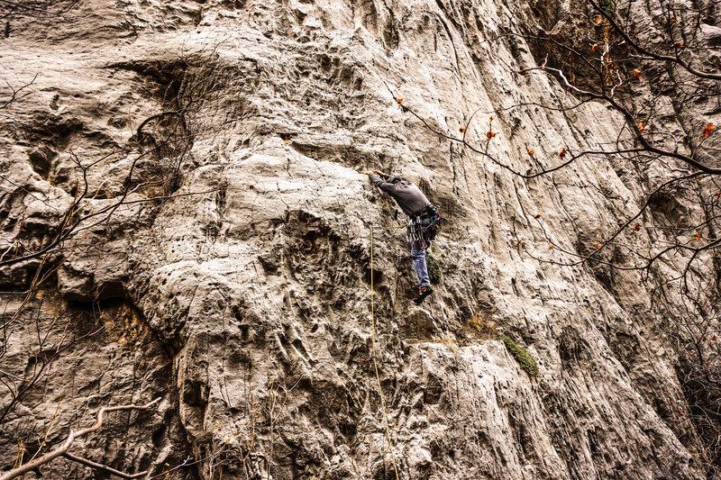 Rock Climbing Photo: Greg climbs The Shocker.