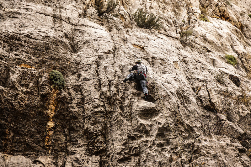 Climber on Filthy Lucre.