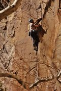 Rock Climbing Photo: Myself at the crux during my redpoint on Terminato...