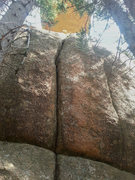 Rock Climbing Photo: The route. The roof known as the Tongue Depressor ...