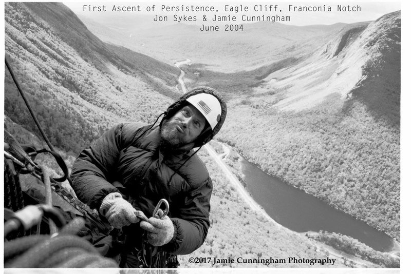 This is Jon Sykes in 2004, when we completed the first ascent of Persistence on Eagle Cliff in Franconia, NH. This was taken in June of that year. It was so cold we brought winter clothing!!!