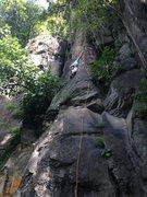 Rock Climbing Photo: Matt reaching the 4th clip where the crux starts.