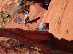 Rock Climbing Photo: Miranda leading the first pitch.