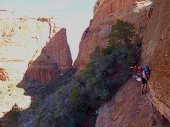 Rock Climbing Photo: Nate and Alexis walking the limestone ledge. Photo...