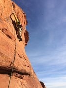 Rock Climbing Photo: Dave reaching up to the bulge on P3 before the fir...