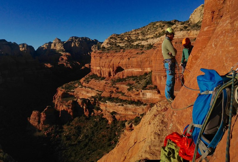 Late afternoon at the third belay. (Photo: Miranda Perrone)