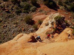 Rock Climbing Photo: Looking down from the third belay at Nate starting...