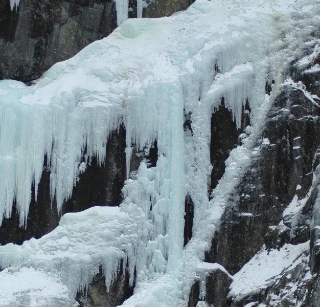 Rock Climbing Photo: Climber on the steep central pillar (5+) of Power ...