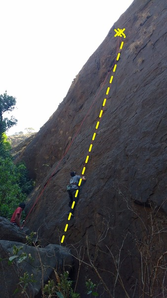 Rock Climbing Photo: Top roping the route from the start.