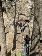 Rock Climbing Photo: Jon works the tricky start trying to get to the fi...