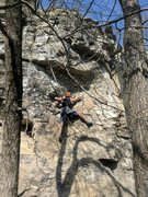 Rock Climbing Photo: Jon is approaching the crux which is getting to th...