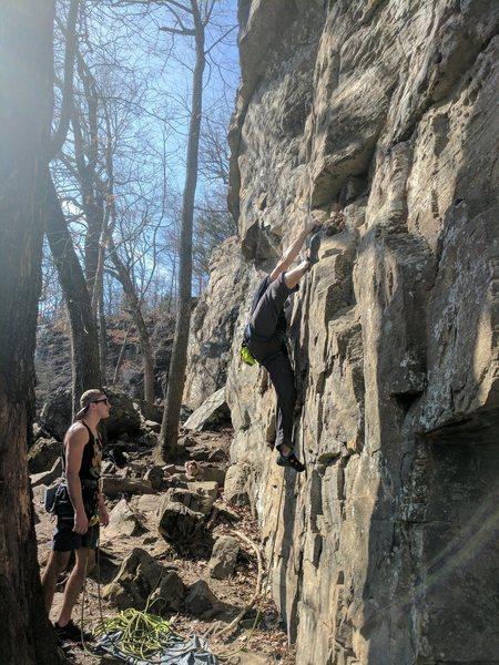Rock Climbing Photo: Kevin tries some um, interesting beta...