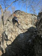 Rock Climbing Photo: Jon cruises up the top section of the route which ...