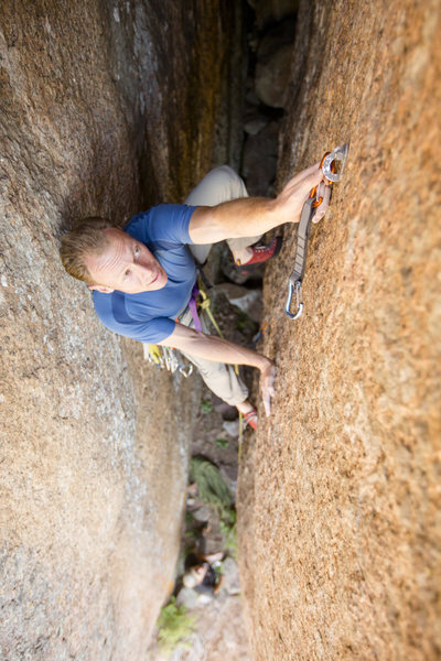 Rock Climbing Photo: Climbing the first pitch of Revelation Route. Phot...