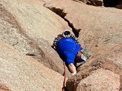 Rock Climbing Photo: Tom on the first pitch of Center route
