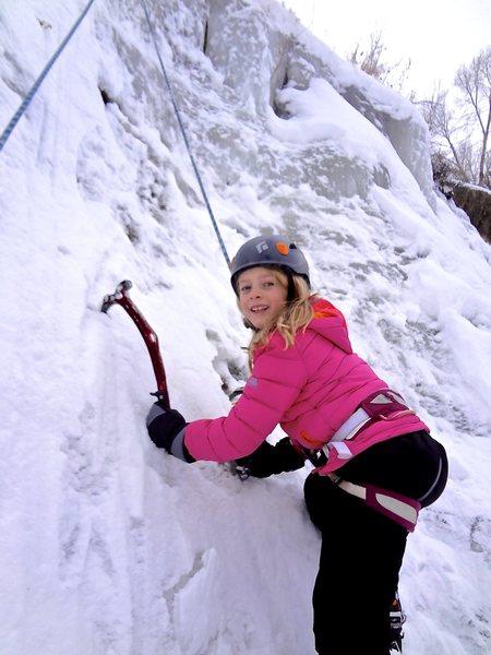 Norah ice climbing, age 7.