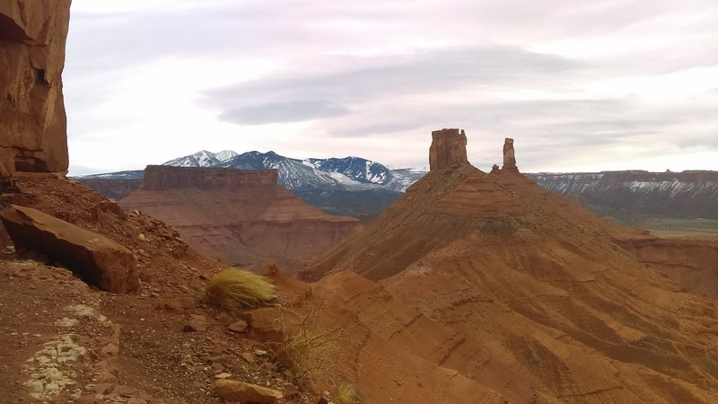 The Reverie and Castleton Tower from the base of Jah Man.