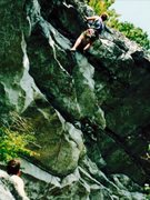 Rock Climbing Photo: Looking up at the  Direct,  It climbs next to the ...