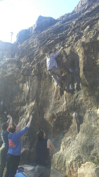 Rock Climbing Photo: Topping out Clocks