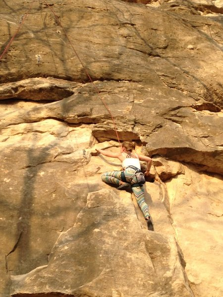 Emily Temple working up her first ascent of Cheater Stone