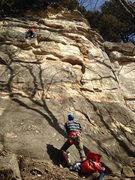 Rock Climbing Photo: Clayton at the crux area of the climb