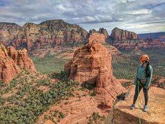 Rock Climbing Photo: My wife on the summit of Morning Glory Spire. I de...