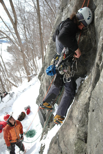 Horner (belaying) and the late Joe Szot on a new route at Deer Leap, Lake George.